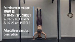 entrainement maison handstand push ups, box jumps, squats